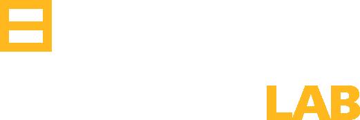 logo de egaleco lab en blanco y amarillo más grande