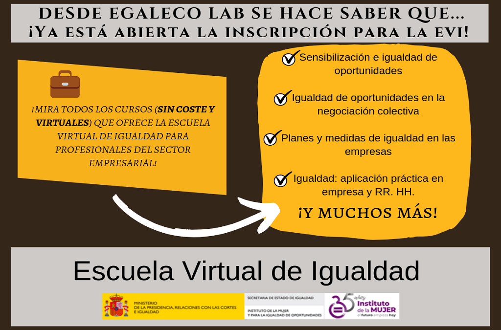 infografía de EgaleCo Lab informado sobre los cursos de la EVI sin coste y virtuales