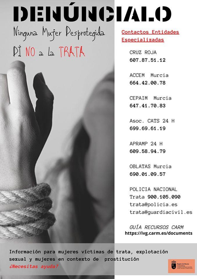información para mujeres víctimas de trata, explotación sexual y mujeres en contexto de prostitución Región de Murcia ayuda